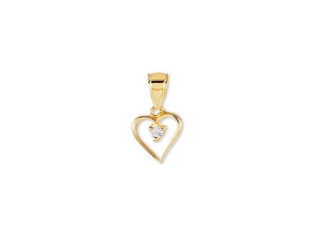 14k Yellow Gold Cubic Zirconia Solitaire Heart Pendant