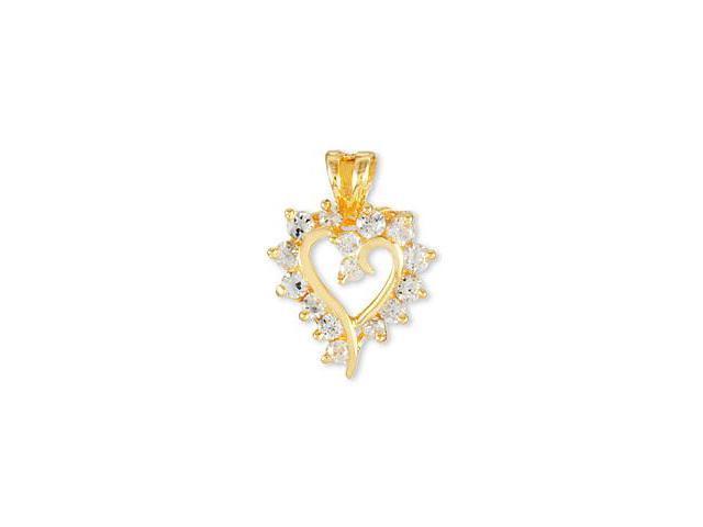 14k Yellow Gold Round CZ Framed Swirl Heart Pendant