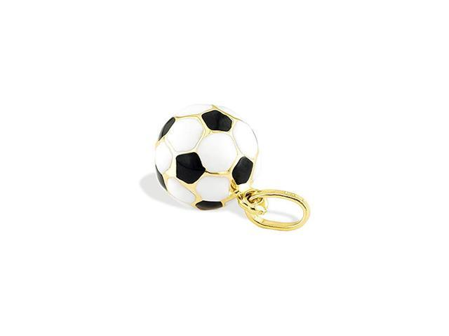 14k Yellow Gold Soccer Ball Black White Sports Pendant