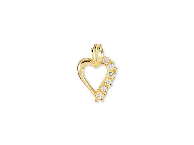 Solid 14k Yellow Gold CZ Swirl Open Heart Love Pendant