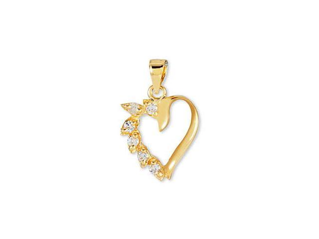 14k Yellow Gold Round CZ Heart Marquise Leaf Pendant