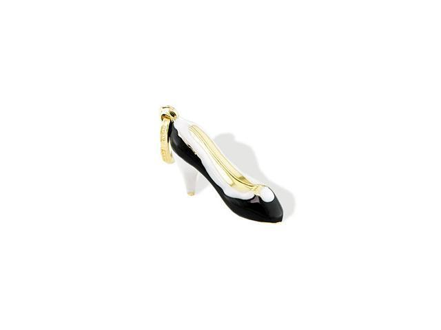 14k Yellow Gold Italian Black White Stiletto Pendant
