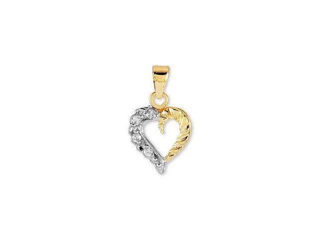 14k Yellow White Gold Round CZ Open Love Heart Pendant