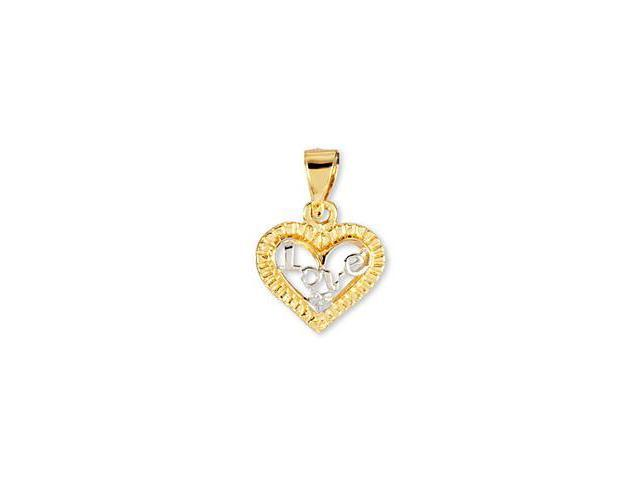 14k Yellow White Gold CZ Heart Love Romantic Pendant