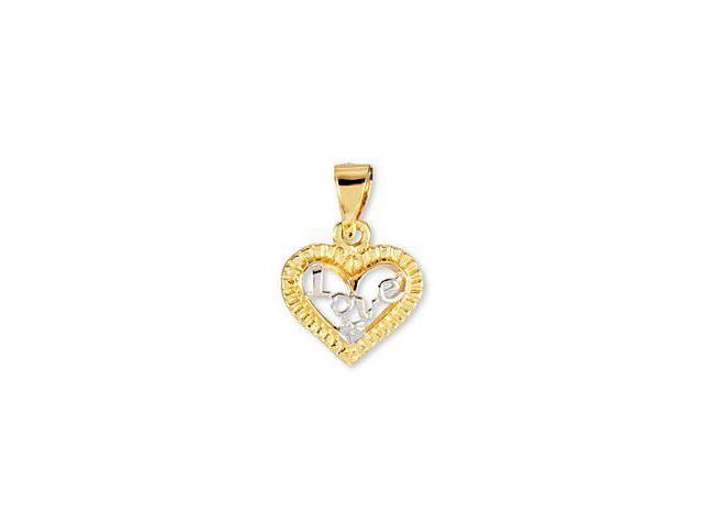 14k Yellow White Gold CZ Heart Love Romantic Pendant