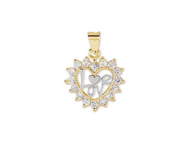 14k White Solid Gold CZ Eternity Inspired Heart Pendant