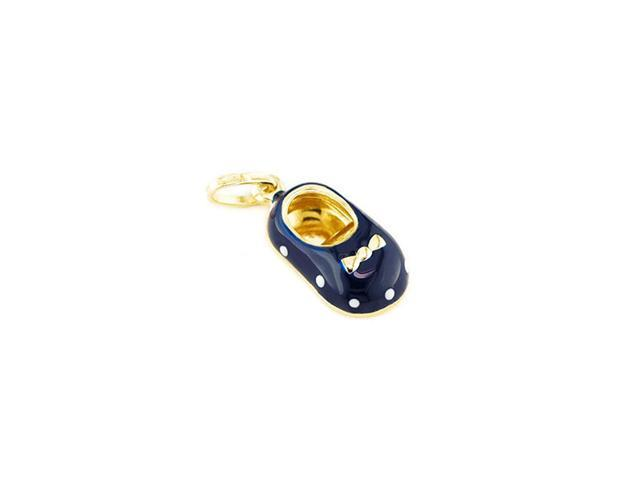 Solid 14k Yellow Gold Boys Blue White Baby Shoe Pendant