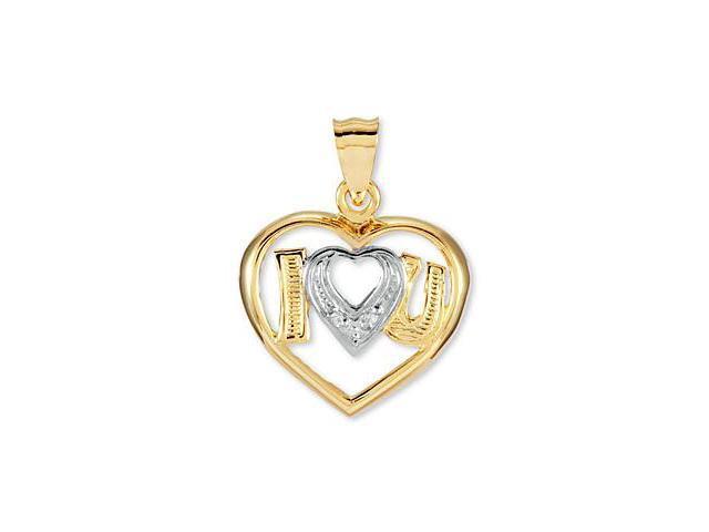 14k Yellow White Gold CZ I Heart Love U You Pendant