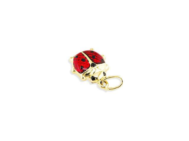 14k Solid Gold Italian Red Black Enamel Ladybug Pendant
