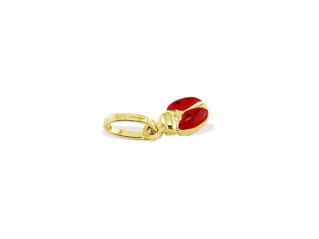 Solid 14k Yellow Gold Red Ladybug Italian Charm Pendant