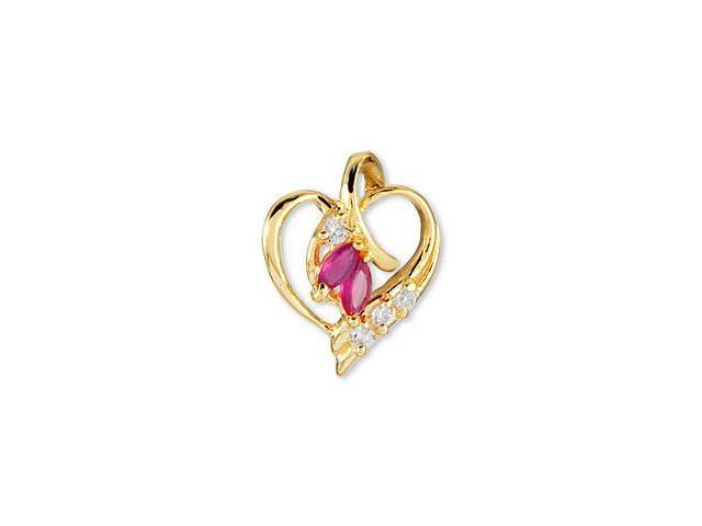 14k Solid Gold Rose Red Marquise White CZ Heart Pendant