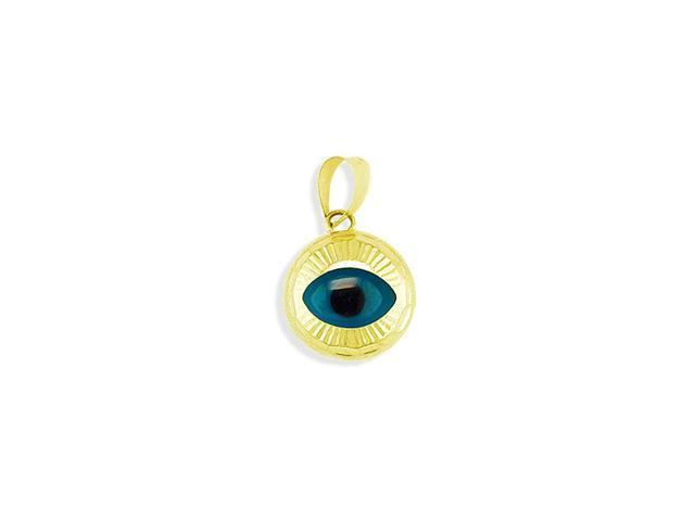 14k Solid Gold Evil Eye Diamond Cut Lucky Charm Pendant