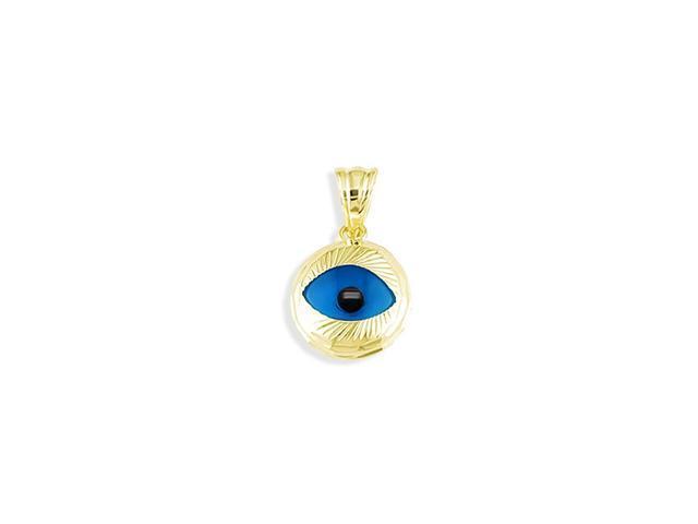 14k Yellow Gold Blue Evil Eye Good Luck Charm Pendant