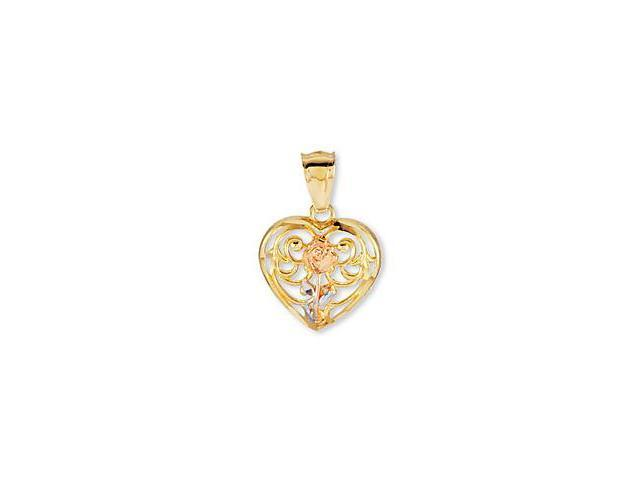 14K Rose White Solid Gold Flower Heart Love Pendant