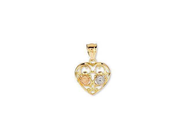 14K Rose White Yellow Gold Heart Flower Fashion Pendant