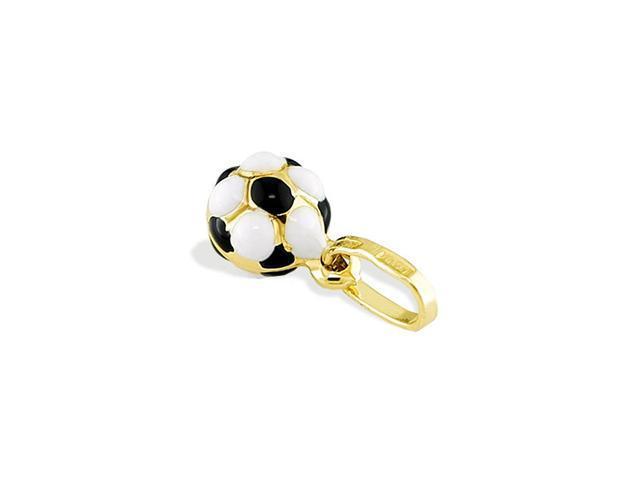 14k Yellow Gold Black White Soccer Ball Italian Pendant