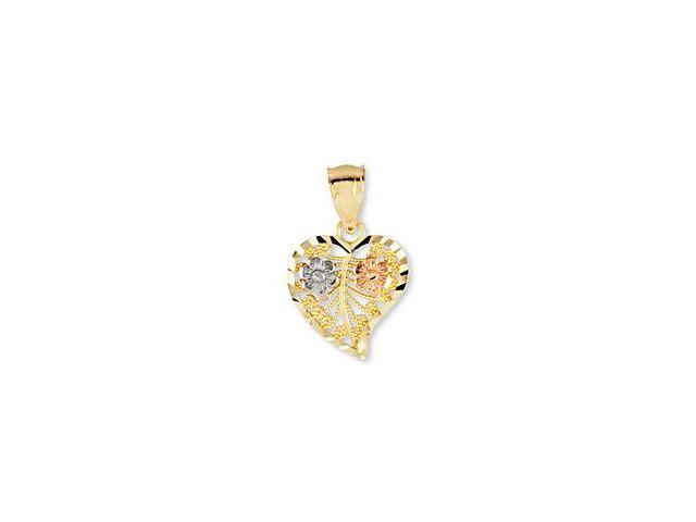 14K Yellow White Rose Gold Flowers Love Heart Pendant