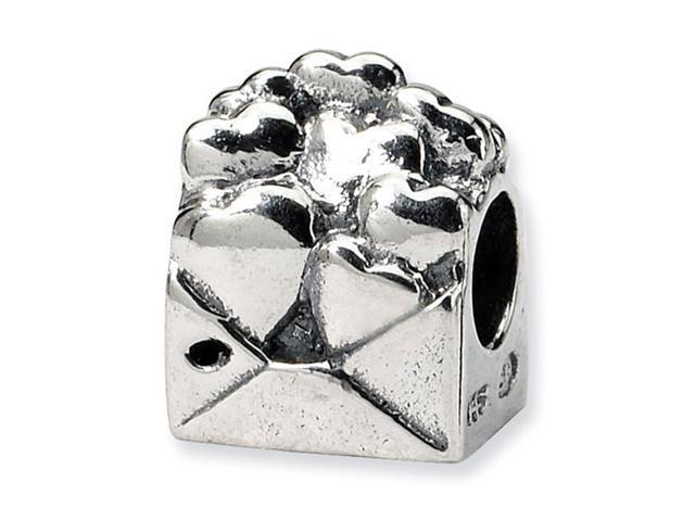 925 Sterling Silver Kids Love Note Hearts Charm Bead