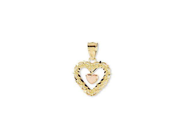 14K Rose Yellow Gold Victorian Style Heart Love Pendant