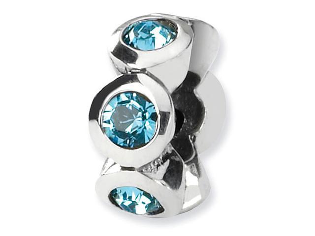 925 Silver Swavorski Crystal Blue March Birthstone Bead