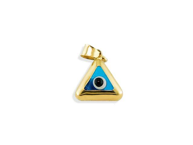 14k Yellow Gold Blue Evil Eye Triangle Charm Pendant