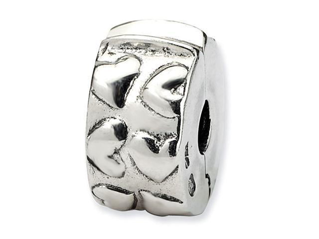 925 Sterling Silver Round Hinged Hearts Clip Bead