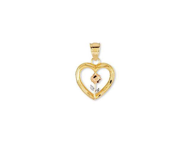 14k Yellow Rose White Gold Flower Love Heart Pendant