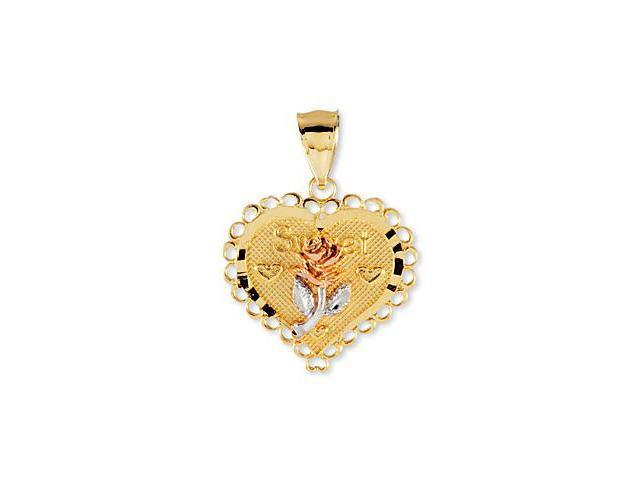 14k Yellow White Rose Gold Sweet Heart Flower Pendant