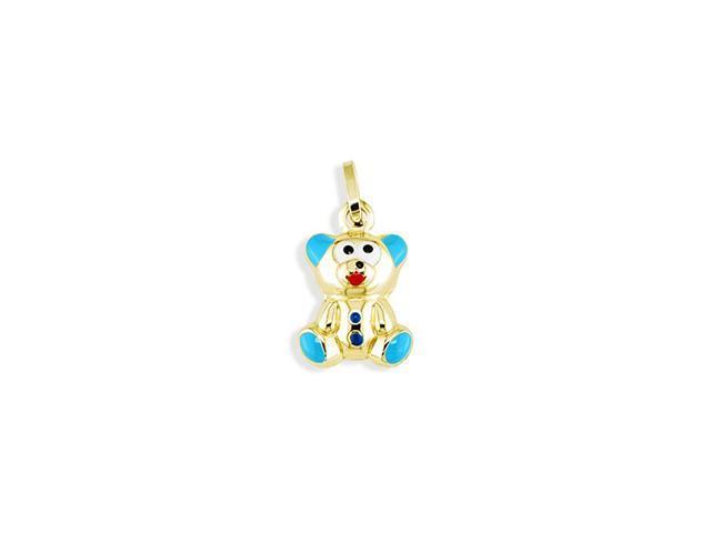 14k Yellow Gold Blue Boy Teddy Bear Italian Pendant