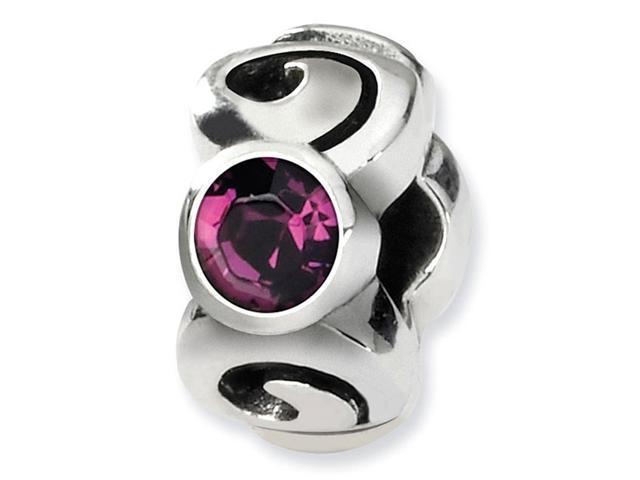 925 Silver February Swavorski Crystal Birthstone Bead