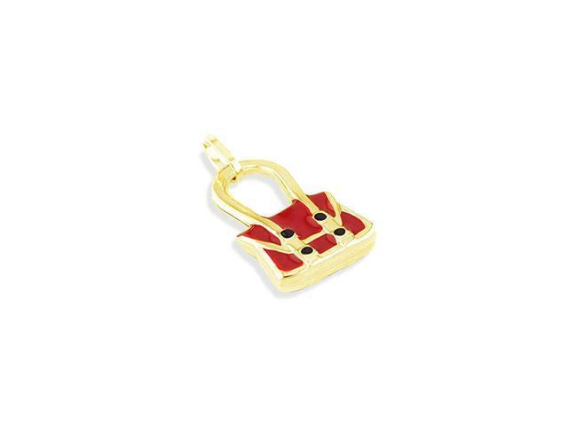 Solid 14k Yellow Gold Red Enamel Handbag Purse Pendant