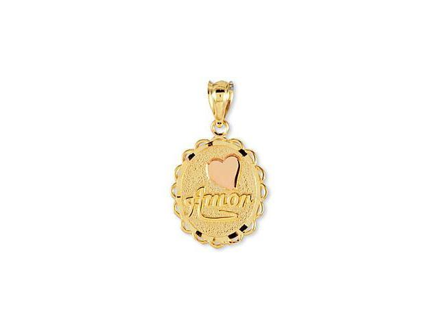 14k Two Tone Gold Heart Amor Love Oval Charm Pendant