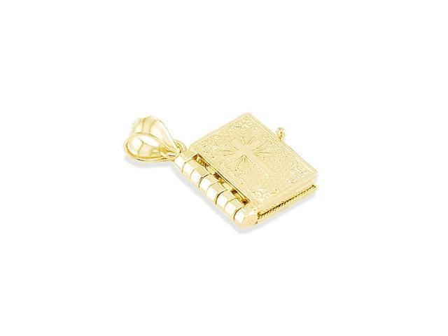 Solid 14k Yellow Gold Cross Bible Lords Prayer Pendant