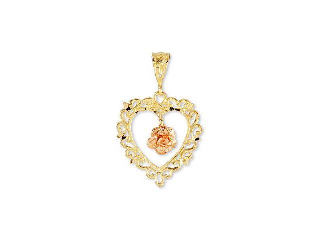 14k Rose Yellow Gold Vintage Style Heart Flower Pendant