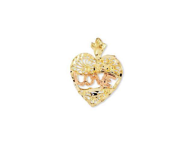 14k Yellow Rose Gold Love Heart Diamond Cut Pendant