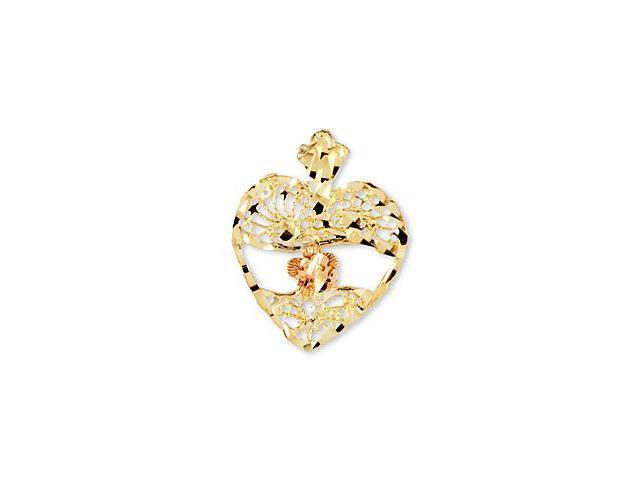 14k Yellow Rose Gold Vintage Style Heart Flower Pendant