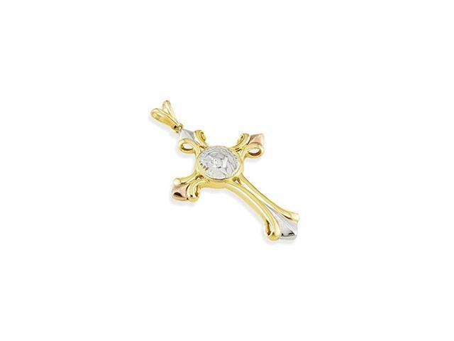 14k Yellow White Rose Gold Jesus Roman Cross Pendant