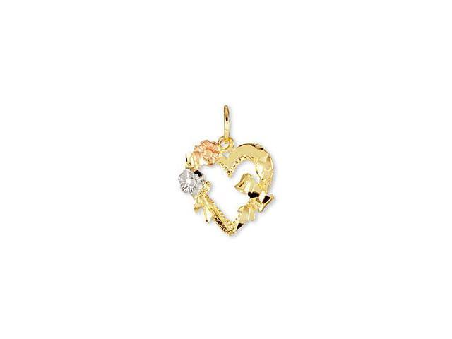 14k Yellow White Rose Gold Floral Ribbon Heart Pendant