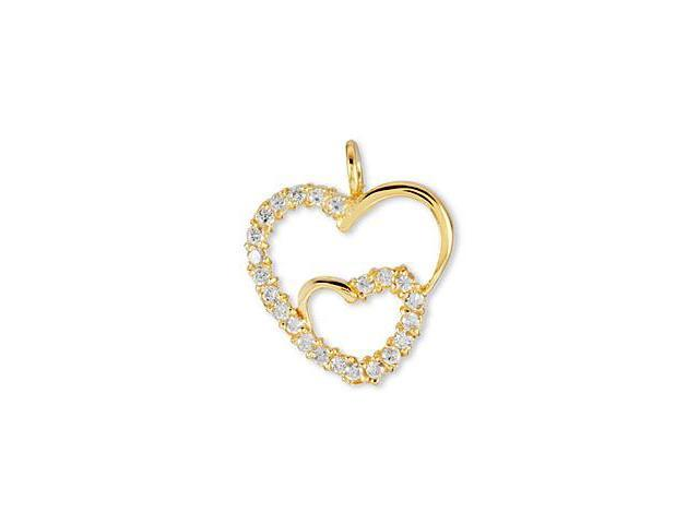 Solid 14k Yellow Gold Two CZ Open Hearts Love Pendant