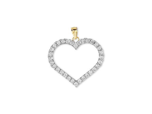 14k Yellow Gold CZ Eternity Style Open Heart Pendant
