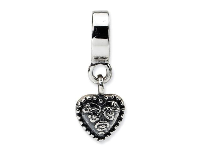 925 Sterling Silver Floral Heart Charm Dangle Bead