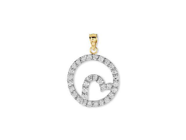 14k Yellow Gold CZ Eternity Style Heart Love Pendant