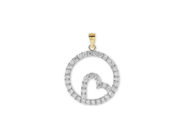 14k Yellow Gold CZ Round Heart Eternity Style Pendant