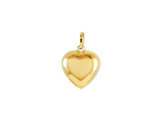 Solid 14k Yellow Gold Puffy Heart Love Charm Pendant