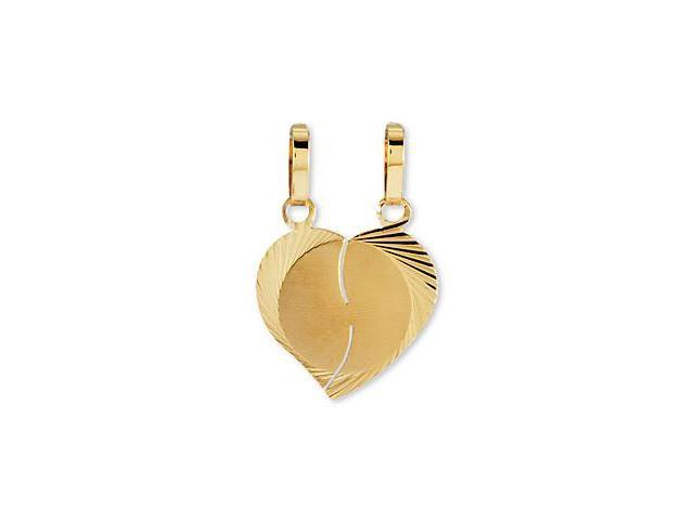14k Yellow Gold Diamond Cut Split Heart Love Pendant