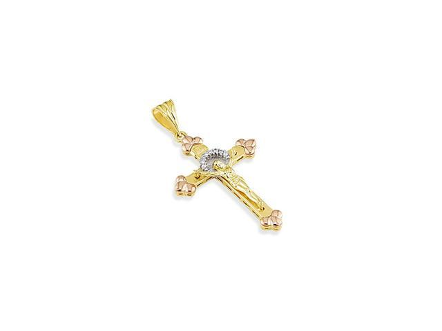14k Yellow White Rose Gold CZ Crown Crucifix Pendant