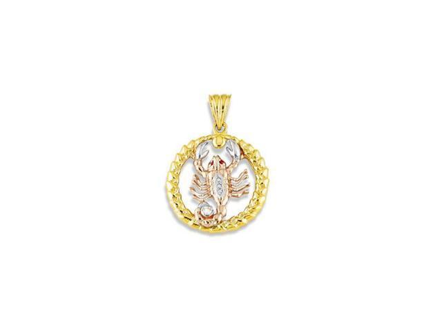14k White Yellow Rose Gold Scorpion Round CZ Pendant