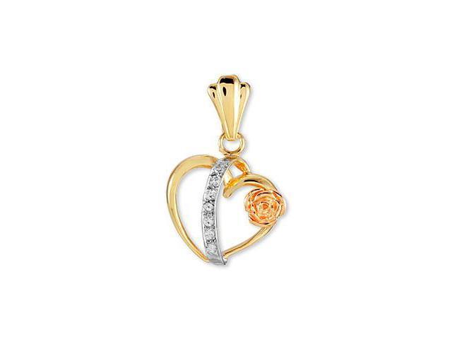 14k Yellow White Rose Gold CZ Flower Heart Love Pendant