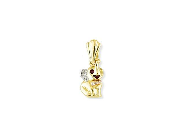 14k White Yellow Rose Gold Elephant Red Ruby CZ Pendant
