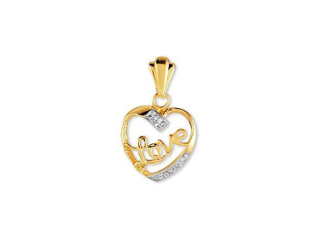 Solid 14k Yellow White Rose Gold CZ Love Heart Pendant